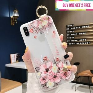 Accessories - Multi-Flower Phone Case with Wrist Strap Anti-Fall